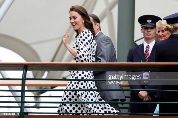 Catherine Duchess of Cambridge as she meets servicemen and women on day one of the Wimbledon Championships at The All England Lawn Tennis and Croquet...