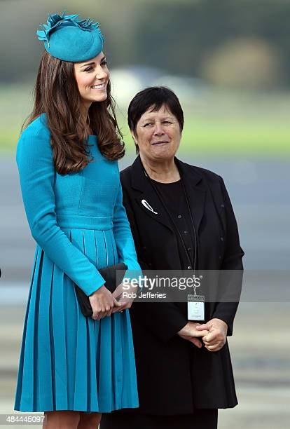 Catherine Duchess of Cambridge at the official greeting at Dunedin International Airport on April 13 2014 in Dunedin New Zealand The Duke and Duchess...