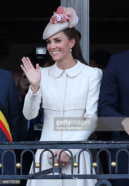 Catherine Duchess of Cambridge attend a reception at the Grand Place on August 4 2014 in Mons Belgium Monday 4th August marks the 100th Anniversary...