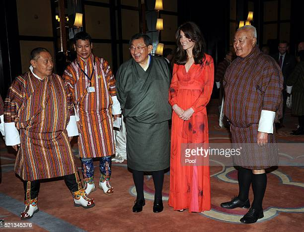 Catherine Duchess of Cambridge attend a reception celebrating UK and Bhutanese friendship and cooperation at the Taj Hotel on April 15 2016 in...