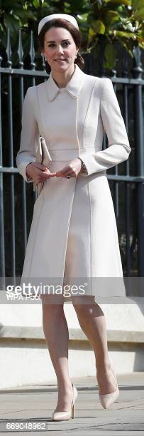 Catherine Duchess of Cambridge attend the Easter Day service at St George's Chapel on April 16 2017 in Windsor England