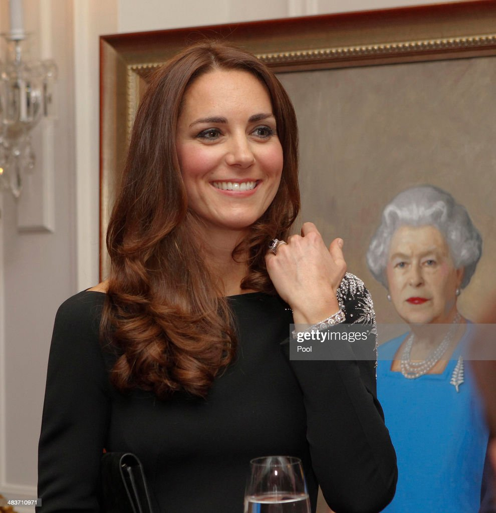 Catherine, Duchess of Cambridge attends a art unveiling during Day 4 of a Royal Tour to New Zealand at Government House on April 10, 2014 in Wellington, New Zealand. The Duke and Duchess of Cambridge are on a three-week tour of Australia and New Zealand, the first official trip overseas with their son, Prince George of Cambridge.