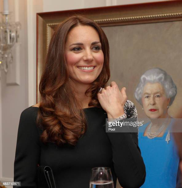 Catherine Duchess of Cambridge attends a art unveiling during Day 4 of a Royal Tour to New Zealand at Government House on April 10 2014 in Wellington...