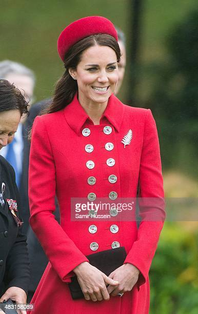 Catherine Duchess of Cambridge attends a Ceremonial Welcome at Government House on April 7 2014 in Wellington New Zealand The Duke and Duchess of...