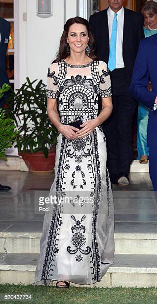 Catherine Duchess of Cambridge attends a Garden party celebrating the Queen's 90th birthday on April 11 2016 in New Dehli India