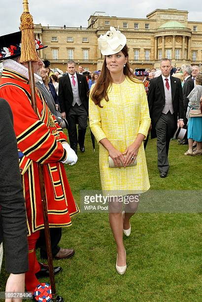 Catherine Duchess of Cambridge attends a Garden Party in the grounds of Buckingham Palace hosted by Queen Elizabeth II on May 22 2013