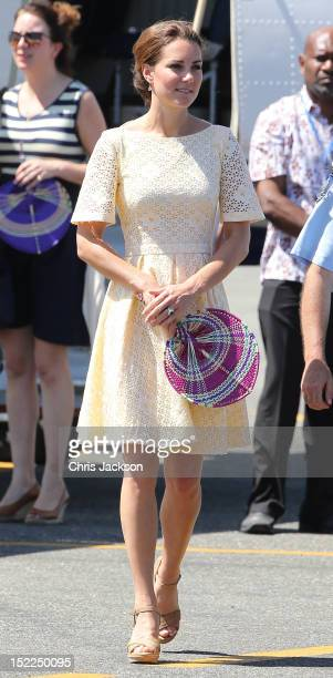 Catherine Duchess of Cambridge attends a leaving ceremony as she leaves Honiara International airport to head to Tuvalu on their Diamond Jubilee tour...