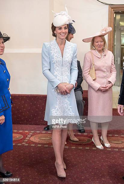 Catherine Duchess of Cambridge attends a lunch after the National Service of Thanksgiving as part of the 90th birthday celebrations for The Queen at...