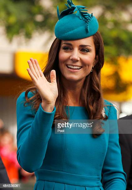 Catherine Duchess of Cambridge attends a Palm Sunday service at St Paul's Anglican Cathedral on April 13 2014 in Dunedin New Zealand The Duke and...