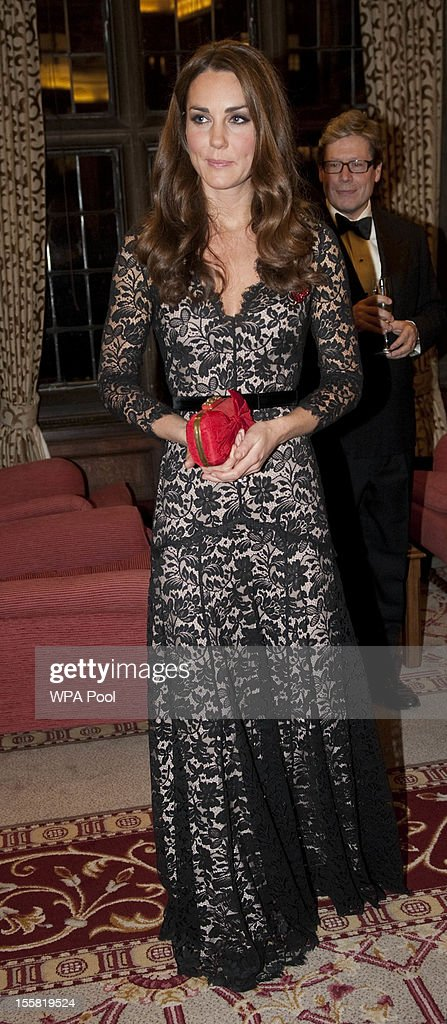Catherine Duchess of Cambridge attends a Reception and Dinner in aid of the University of St Andrews 600th Anniversary Appeal at Middle Temple Hall...