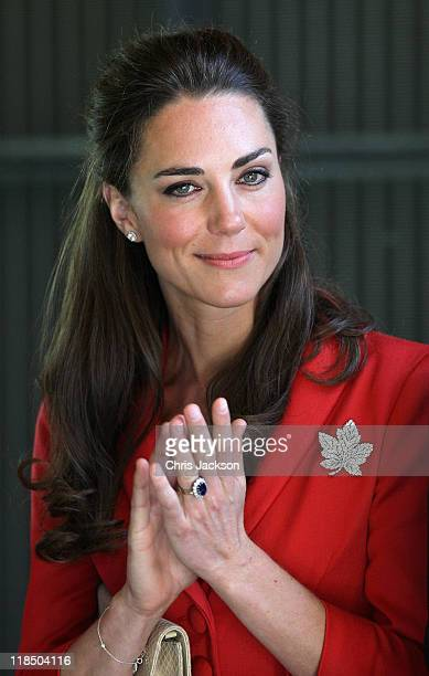 Catherine Duchess of Cambridge attends a reception at Calgary Zoo on July 8 2011 in Calgary Canada The newly married Royal Couple are on the ninth...
