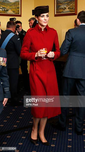 Catherine Duchess of Cambridge attends a reception following the ceremony marking the end of RAF Search and Rescue Force operations during a visit to...