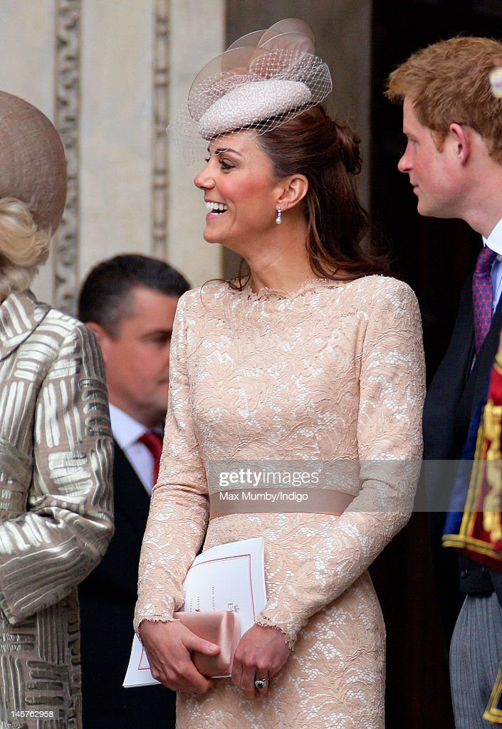 Catherine, Duchess of Cambridge attends a Service of Thanksgiving to celebrate Queen Elizabeth II's Diamond Jubilee at St Paul's Cathedral on June 5, 2012 in London, England. For only the second time in its history the UK celebrates the Diamond Jubilee of a monarch. Her Majesty Queen Elizabeth II celebrates the 60th anniversary of her ascension to the throne. Thousands of wellwishers from around the world have flocked to London to witness the spectacle of the weekend's celebrations.