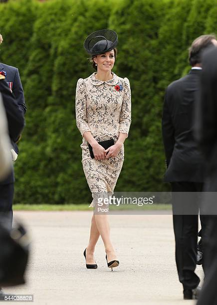 Catherine Duchess of Cambridge attends a service to mark the 100th anniversary of the beginning of the Battle of the Somme at the Thiepval memorial...