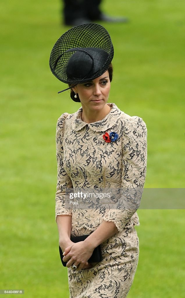 Catherine, Duchess of Cambridge attends a service to mark the 100th anniversary of the beginning of the Battle of the Somme at the Thiepval memorial to the Missing on July 1, 2016 in Thiepval, France. The event is part of the Commemoration of the Centenary of the Battle of the Somme at the Commonwealth War Graves Commission Thiepval Memorial in Thiepval, France, where 70,000 British and Commonwealth soldiers with no known grave are commemorated.