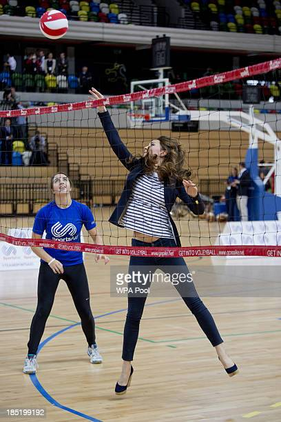 Catherine Duchess of Cambridge attends a Sportaid Athlete Workshop at Queen Elizabeth Olympic Park on October 18 2013 in London England