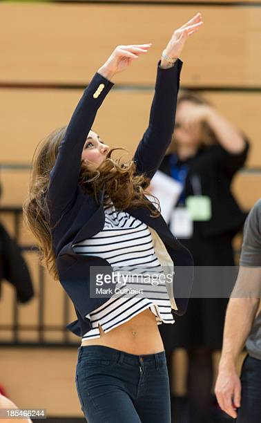 Catherine Duchess of Cambridge attends a Sportaid Athlete Workshop and played some volleyball at The Copper Box Arena at Queen Elizabeth Olympic Park...