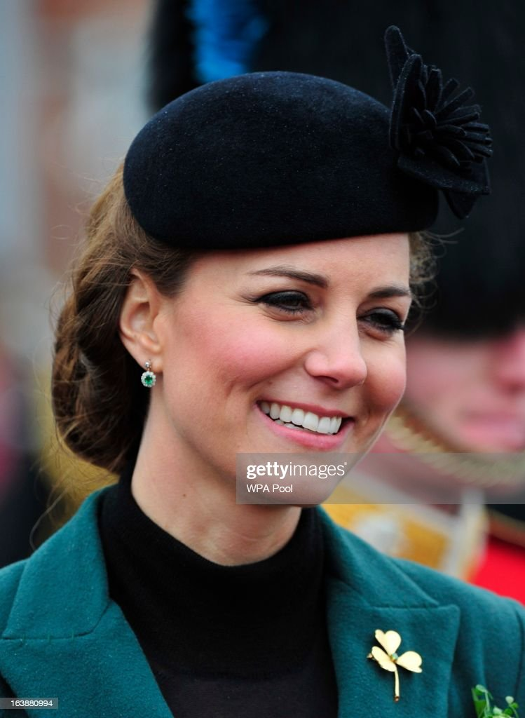 Catherine, Duchess of Cambridge attends a St Patrick's Day parade by the 1st Battalion Irish Guards as they visit Aldershot Barracks on St Patrick's Day on March 17, 2013 in Aldershot, England.
