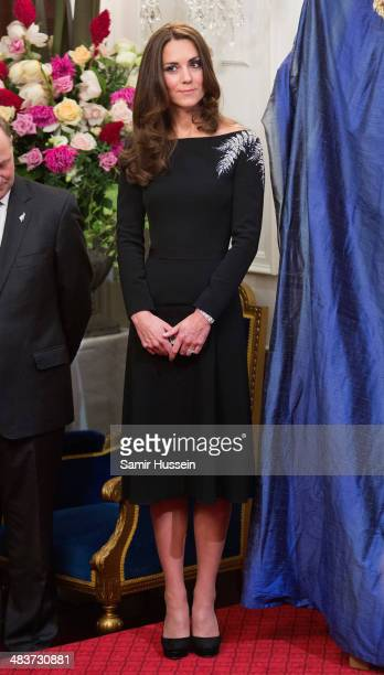 Catherine Duchess of Cambridge attends a state reception at Government House on April 10 2014 in Wellington New Zealandon April 10 2014 in Wellington...