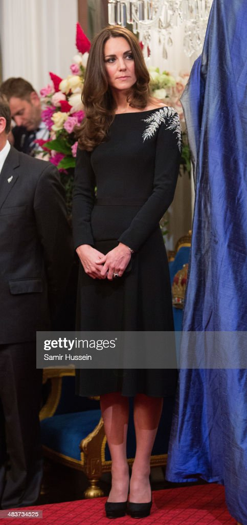 Catherine, Duchess of Cambridge attends a state reception at Government House on April 10, 2014 in Wellington, New Zealand.on April 10, 2014 in Wellington, New Zealand. The Duke and Duchess of Cambridge are on a three-week tour of Australia and New Zealand, the first official trip overseas with their son, Prince George of Cambridge.