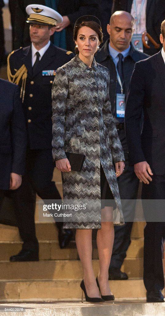 Catherine, Duchess of Cambridge attends a Vigil at The Commonwealth War Graves Commission Thiepval Memorial for the Commemoration of the Centenary of The Battle of the Somme on June 30, 2016 in Albert, France.