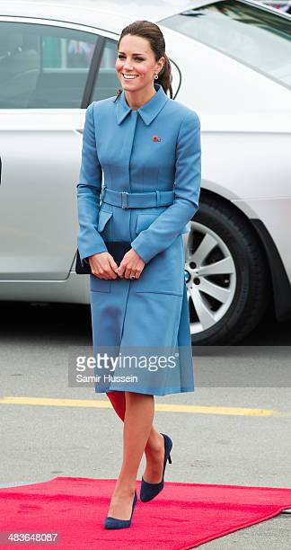 Catherine Duchess of Cambridge attends a wreathlaying service at the War Memorial in Seymour Square on April 10 2014 in Blenheim New Zealand The Duke...