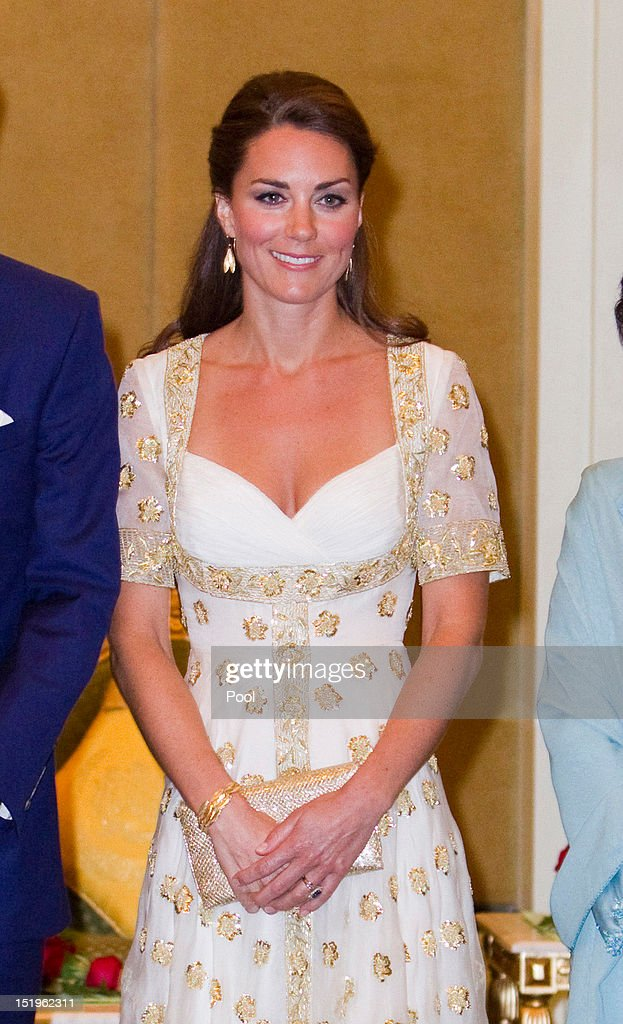 Catherine, Duchess of Cambridge attends an official dinner hosted by Malaysia's Head of State Sultan Abdul Halim Mu'adzam Shah of Kedah on Day 3 of Prince William, Duke of Cambridge and Catherine, Duchess of Cambridge's Diamond Jubilee Tour of South East Asia at the Istana Negara on September 13, 2012 in Kuala Lumpur, Malaysia. Prince William, Duke of Cambridge and Catherine, Duchess of Cambridge are on a Diamond Jubilee Tour of South East Asia and the South Pacific taking in Singapore, Malaysia, Solomon Islands and Tuvalu.