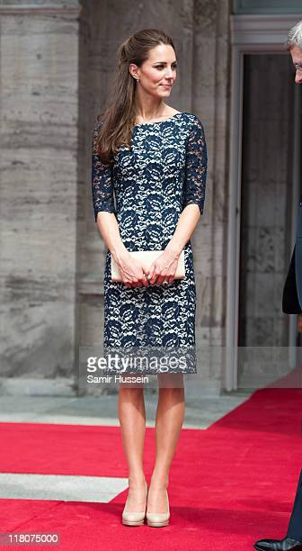 Catherine Duchess of Cambridge attends an official welcoming ceremony at Rideau Hall on day 1 on the Royal Couple's North American Tour on June 30...