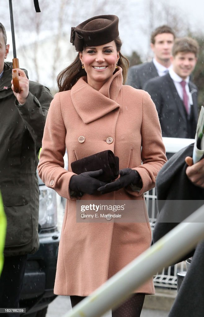 Catherine, Duchess of Cambridge attends day 4 of the Cheltenham Festival at Cheltenham Racecourse on March 15, 2013 in Cheltenham, England.