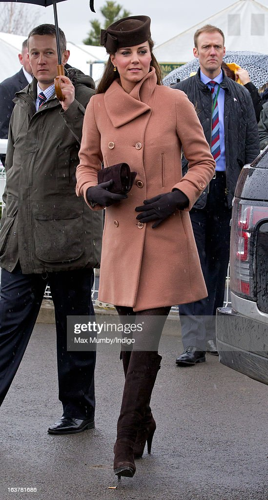 Catherine, Duchess of Cambridge attends Day 4 of The Cheltenham Festival at Cheltenham Racecourse on March 15, 2013 in London, England.