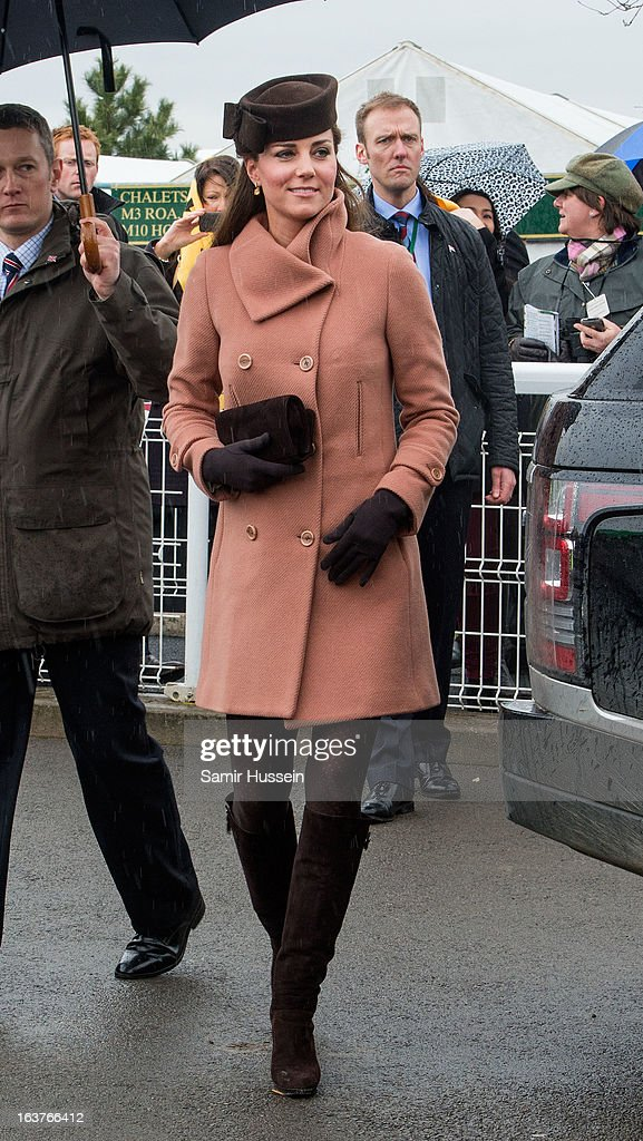 Catherine Duchess of Cambridge attends day 4 of the Cheltenham Festival on Gold Cup Day at Cheltenham racecourse on March 15 2013 in London England