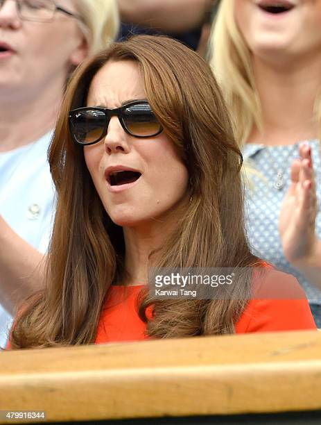 Catherine Duchess of Cambridge attends day nine of the Wimbledon Tennis Championships at Wimbledon on July 8 2015 in London England