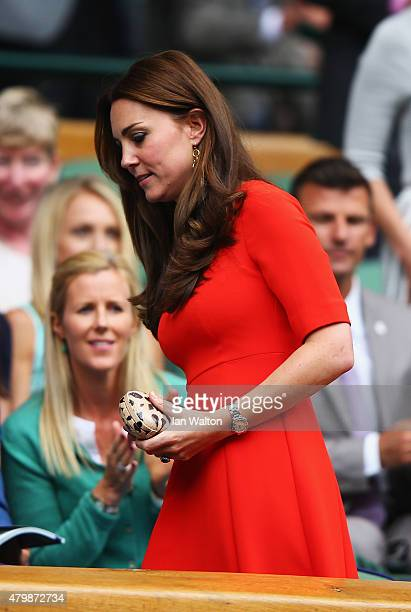Catherine Duchess of Cambridge attends day nine of the Wimbledon Lawn Tennis Championships at the All England Lawn Tennis and Croquet Club on July 8...