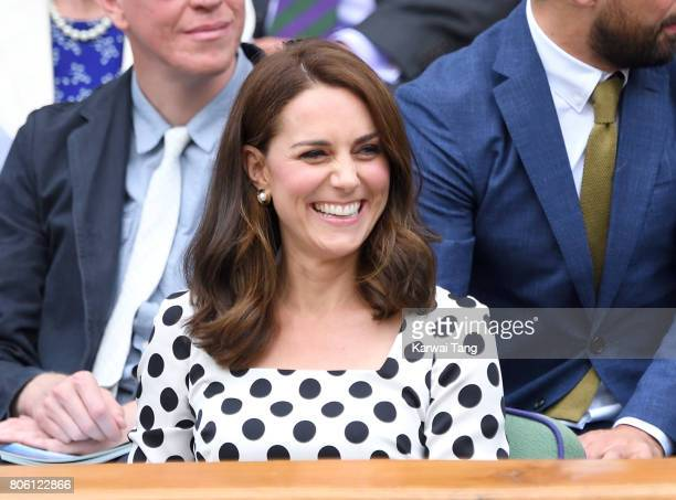 Catherine Duchess of Cambridge attends day one of the Wimbledon Tennis Championships at the All England Lawn Tennis and Croquet Club on July 3 2017...