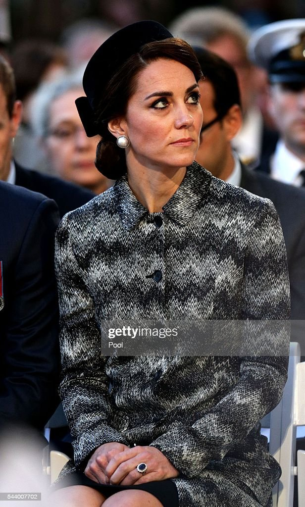 Catherine, Duchess of Cambridge attends part of a military-led vigil to commemorate the 100th anniversary of the beginning of the Battle of the Somme at the Thiepval memorial to the Missing in June 30, 2016 in Thiepval, France. The event is part of the Commemoration of the Centenary of the Battle of the Somme at the Commonwealth War Graves Commission Thiepval Memorial in Thiepval, France, where 70,000 British and Commonwealth soldiers with no known grave are commemorated.