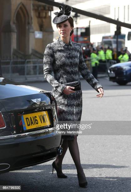 Catherine Duchess of Cambridge attends Service of Hope at Westminster Abbey on April 5 2017 in London England The multifaith Service of Hope was held...