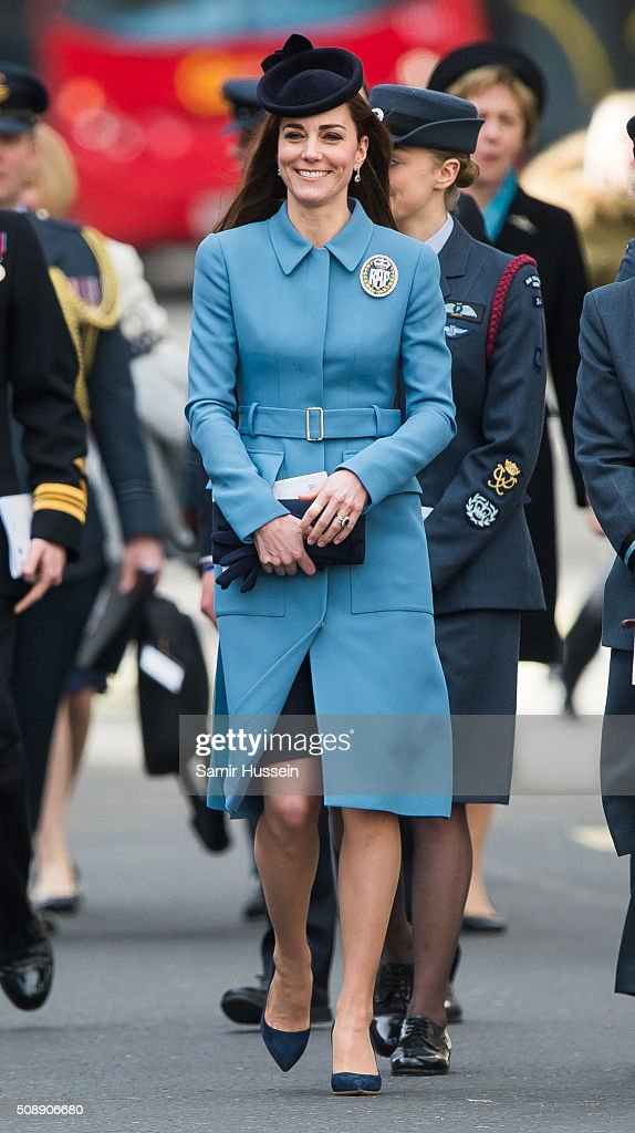 Catherine, Duchess of Cambridge attends St Clement Danes Church for a service to mark the 75th Anniversary of the RAF Air Cadets on February 7, 2016 in London, England.