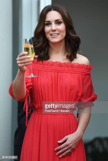 Catherine Duchess of Cambridge attends takes part in a toast The Queen's Birthday Party at the British Ambassadorial Residenceduring an official...