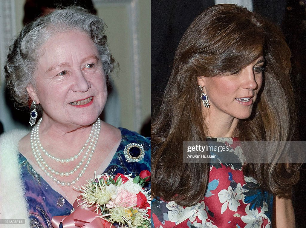 In this composite image a comparison has been made between Queen Elizabeth, The Queen Mother (L) and Catherine, Duchess of Cambridge wearing the late Queen Mother's diamond and sapphire fringe earrings..LONDON, ENGLAND - OCTOBER 27: Catherine, Duchess of Cambridge attends the 100 Women In Hedge Funds Gala Dinner In Aid Of The Art Room at Victoria and Albert Museum on October 27, 2015 in London, England.