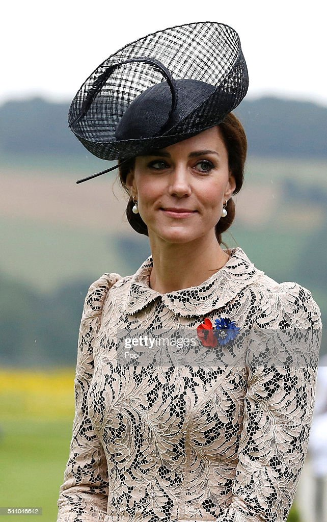Catherine, Duchess of Cambridge attends the 100th anniversary of the beginning of the Battle of the Somme at the Thiepval memorial to the Missing on July 1, 2016 in Thiepval, France. The event is part of the Commemoration of the Centenary of the Battle of the Somme at the Commonwealth War Graves Commission Thiepval Memorial in Thiepval, France, where 70,000 British and Commonwealth soldiers with no known grave are commemorated.