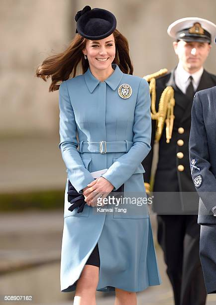 Catherine Duchess of Cambridge attends the 75th anniversary of the RAF Air Cadets at St Clement Danes Church on February 7 2016 in London England
