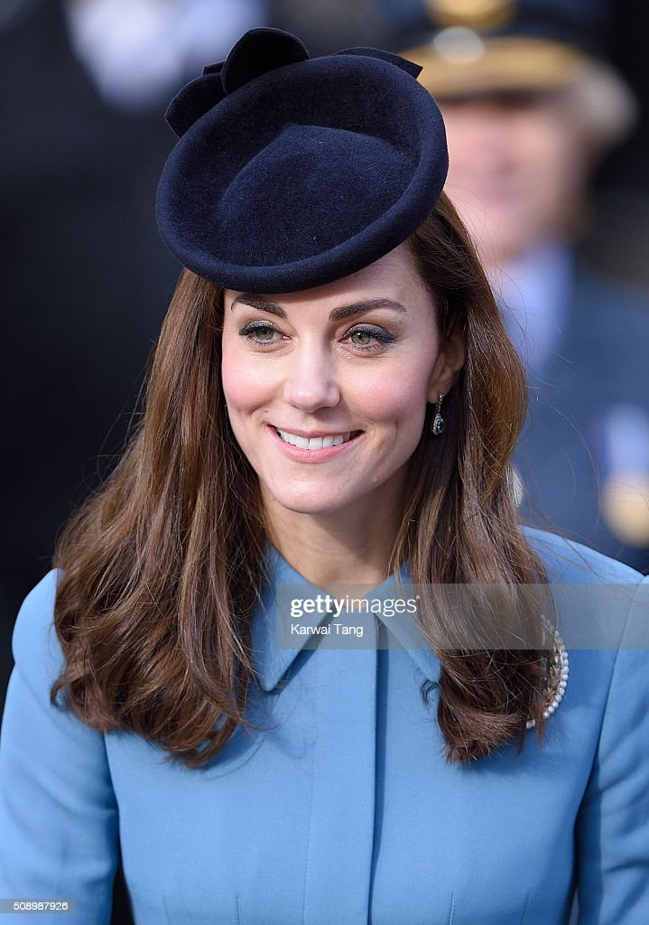 Catherine, Duchess of Cambridge attends the 75th anniversary of the RAF Air Cadets at St Clement Danes Church on February 7, 2016 in London, England.