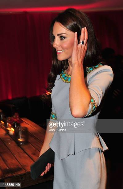 Catherine Duchess of Cambridge attends the 'African Cats' UK film Premiere in Aid of Tusk at the BFI Southbank on April 25 2012 in London England