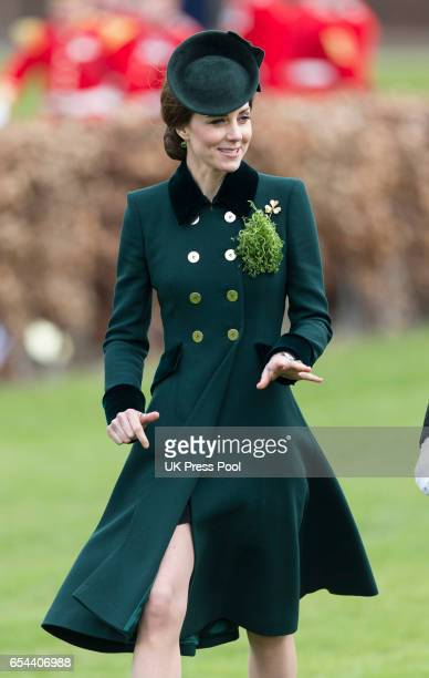 Catherine Duchess of Cambridge attends the annual Irish Guards St Patrick's Day Parade at Household Cavalry Barracks on March 17 2017 in London...