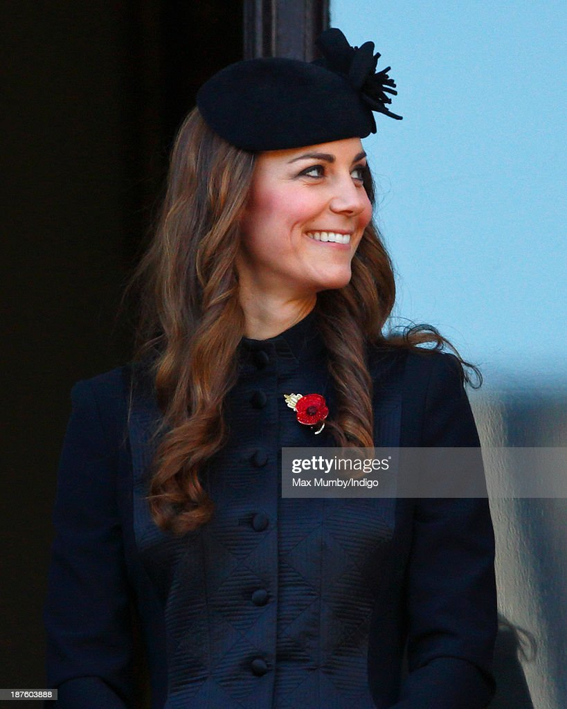 Catherine Duchess of Cambridge attends the annual Remembrance Sunday Service at the Cenotaph on November 10 2013 in London United Kingdom People...