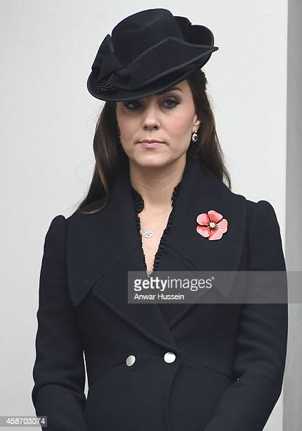 Catherine Duchess of Cambridge attends the annual Remembrance Sunday Service at the Cenotaph on November 9 2014 in London England