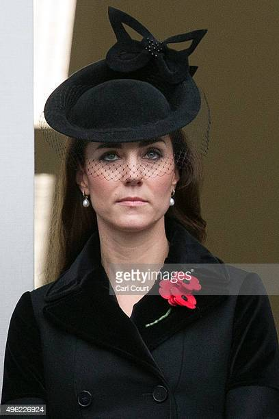 Catherine Duchess of Cambridge attends the annual Remembrance Sunday Service at the Cenotaph on Whitehall on November 8 2015 in London United Kingdom...