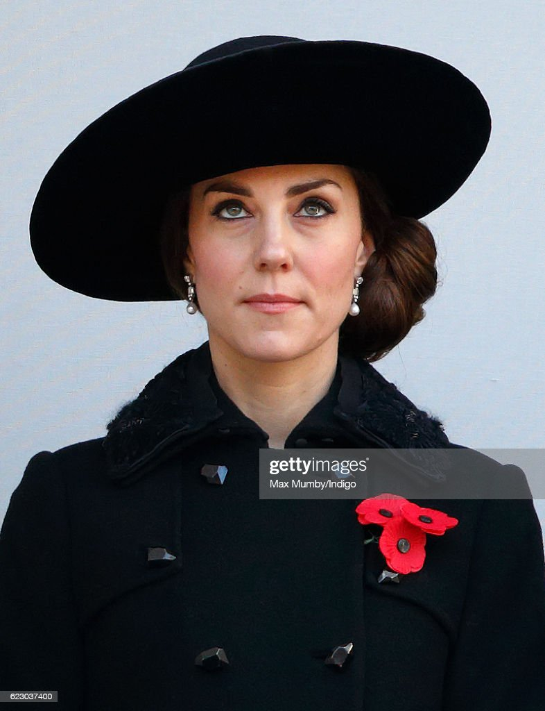 Catherine, Duchess of Cambridge attends the annual Remembrance Sunday Service at the Cenotaph on Whitehall on November 13, 2016 in London, England. The Queen, senior politicians, including the British Prime Minister and representatives from the armed forces pay tribute to those who have suffered or died at war.