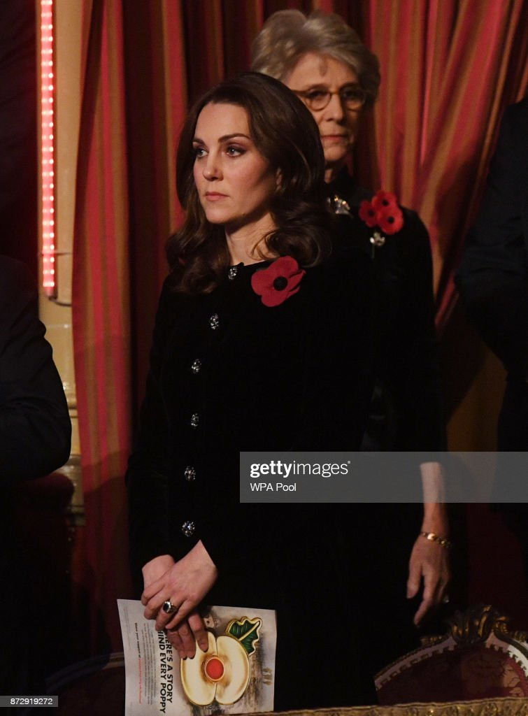 Catherine, Duchess of Cambridge attends the annual Royal Festival of Remembrance to commemorate all those who have lost their lives in conflicts at the Royal Albert Hall on November 11, 2017 in London, England.