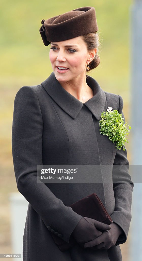 Catherine Duchess of Cambridge attends the annual St Patrick's Day Parade at Mons Barracks on March 17 2015 in Aldershot England